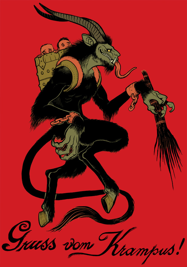Yes, Krampus-themed flag, if I saw a merc band using this one, I would like to join them